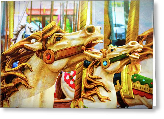 Amazing Carrousel Horses Greeting Card by Garry Gay