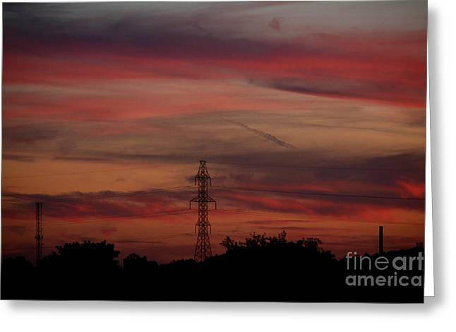 Amazing Colorful Bright Sunset Greeting Card by Reva Steenbergen