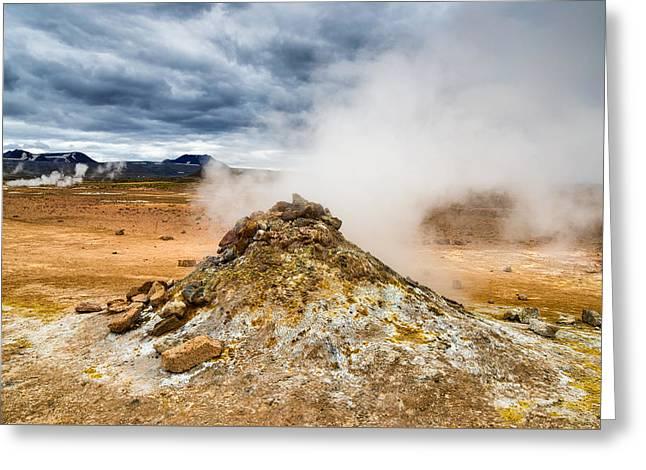 Amazing Geothermal Landscape Hverir Namafjall In Iceland Greeting Card by Matthias Hauser