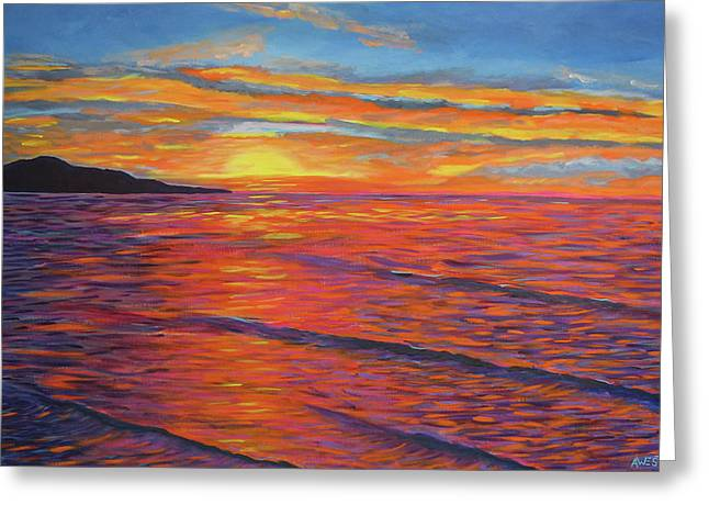 Sunset Seascape Greeting Cards - Amazing Grace Greeting Card by Anne West