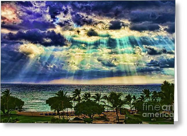Amazing Grace - Sun Rays Before Sunset By Diana Sainz Greeting Card