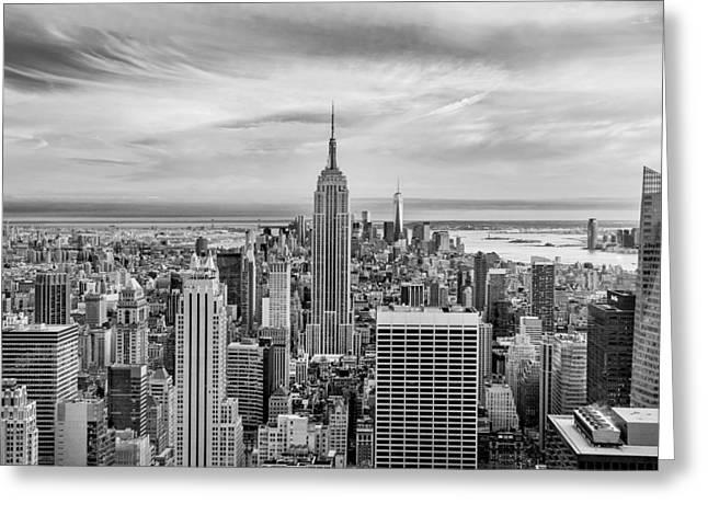 Amazing Manhattan Bw Greeting Card by Az Jackson