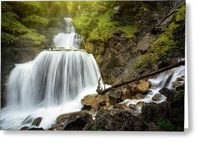 Amazing Mountain Waterfall Near Farchant Village At Garmisch Partenkirchen, Farchant, Bavaria, Germany. Greeting Card