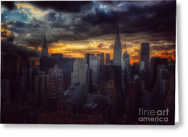 Amazing Skyline Of Manhattan - New York City Greeting Card by Miriam Danar