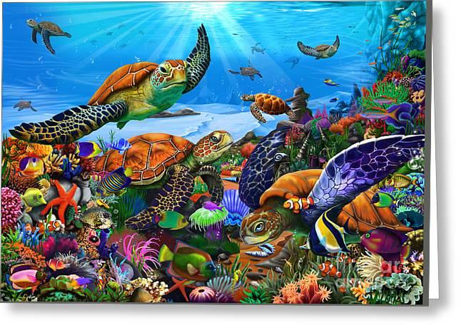 Amazing Undersea Turtles Greeting Card by Gerald Newton