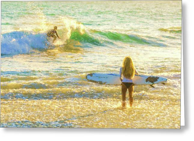 Amazing View 1 Surfing Watercolor Greeting Card