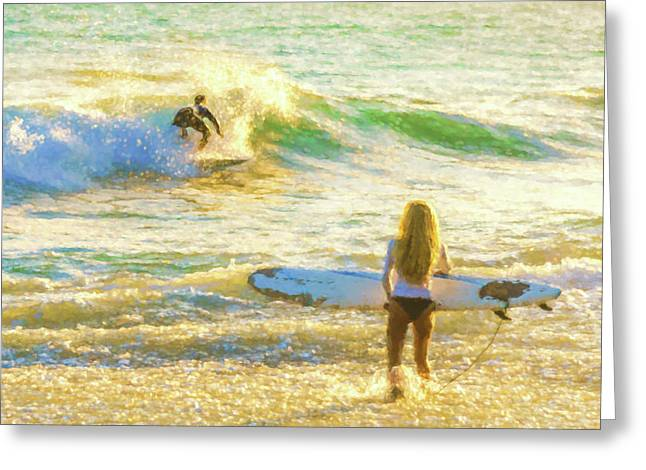 Amazing View 2 Surfing Watercolor Greeting Card