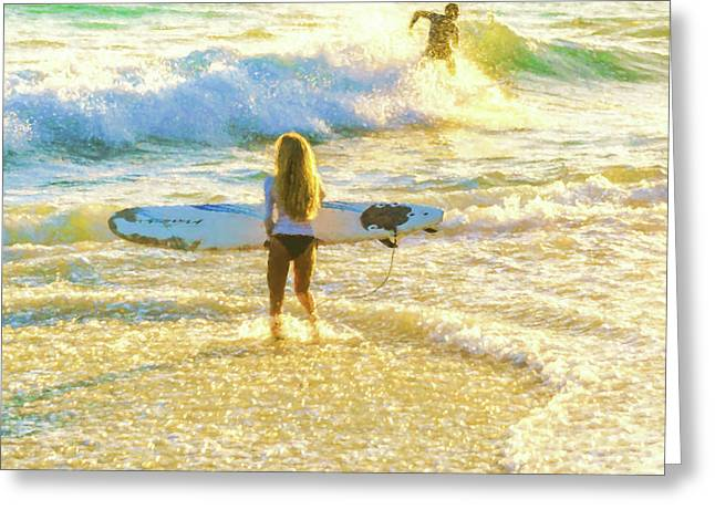 Amazing View 3 Surfing Watercolor Greeting Card