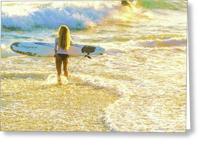 Amazing View 4 Surfing Watercolor Greeting Card