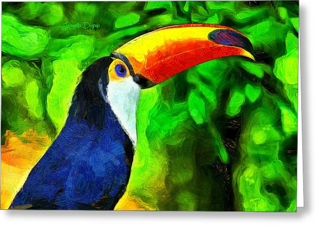 Amazon Forest Tucano Greeting Card by Leonardo Digenio
