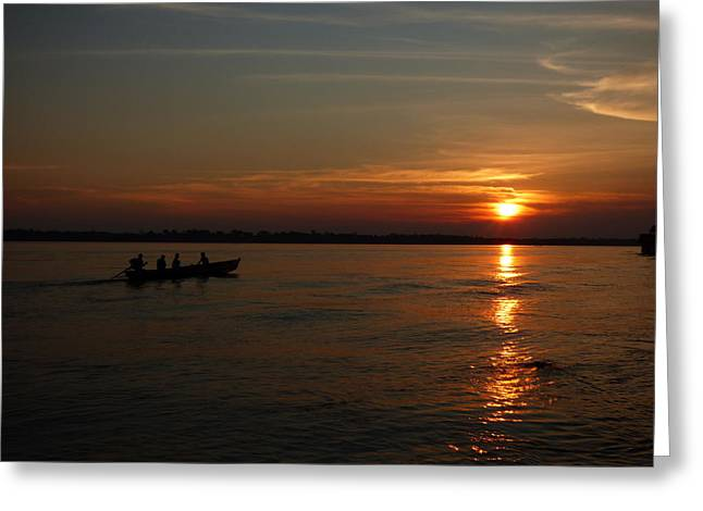 Amazon Sunset #3 Greeting Card by Michael Cook