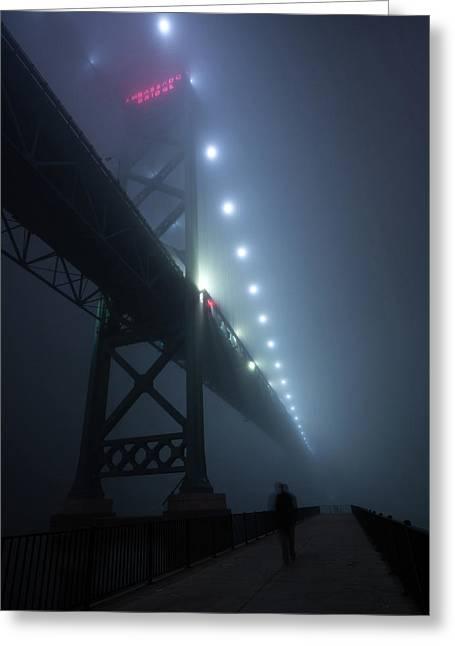 Ambassador Bridge In Fog Greeting Card