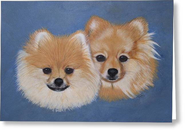 Amber And Sandy Greeting Card by Janice M Booth
