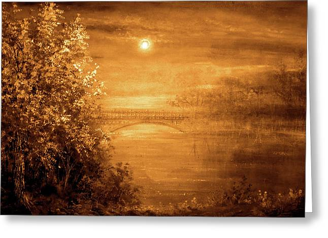 Amber Bridge Greeting Card by Ann Marie Bone