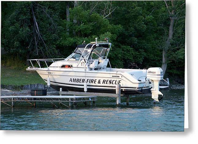 Amber Fire And Rescue Boat Finger Lakes New York Greeting Card by Thomas Woolworth