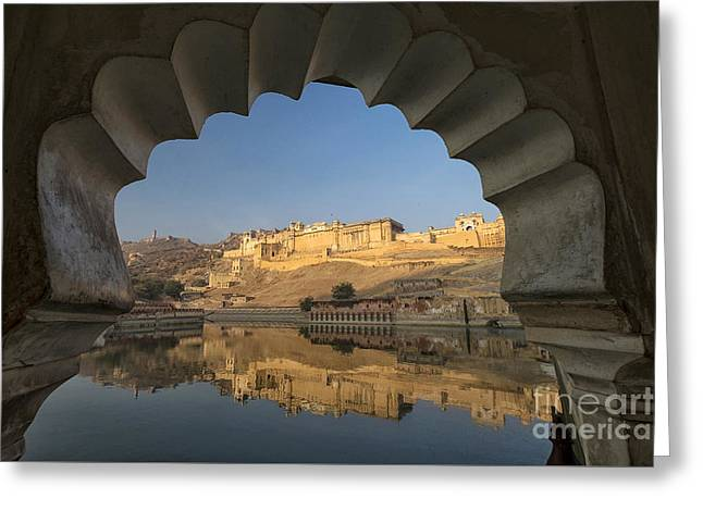 Greeting Card featuring the photograph Amber Fort Reflection by Yew Kwang