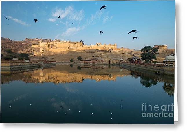 Greeting Card featuring the photograph Amber Fort  by Yew Kwang