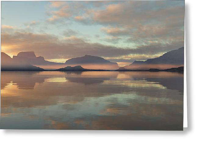 Greeting Card featuring the digital art Salmon Lake Sunrise by Mark Greenberg