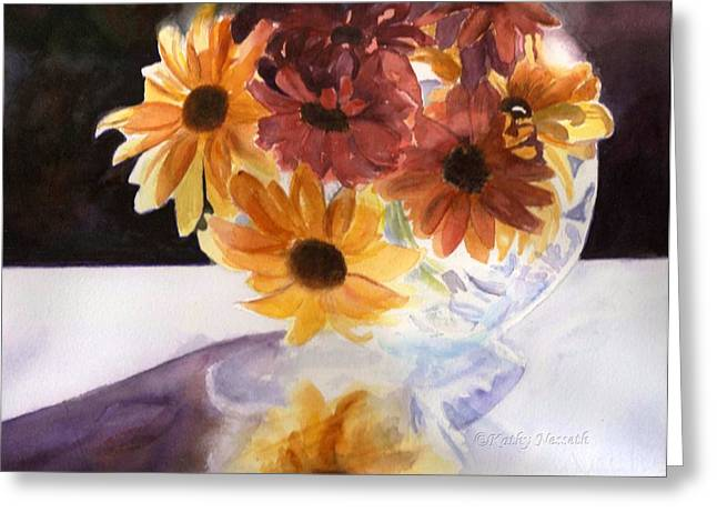 Amber Mums Greeting Card by Kathy Nesseth