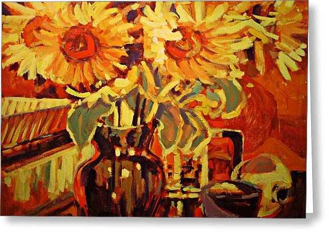Amber's Sunflowers Greeting Card by Brian Simons