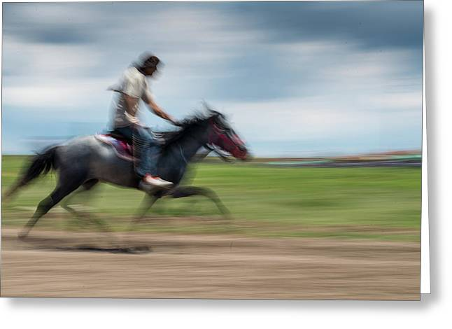 Ambling Race Greeting Card by Okan YILMAZ