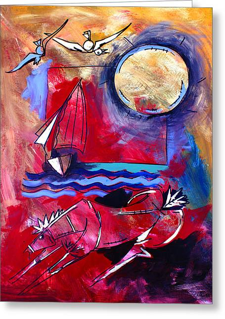 Ameeba 34-horse And Sailboat Greeting Card