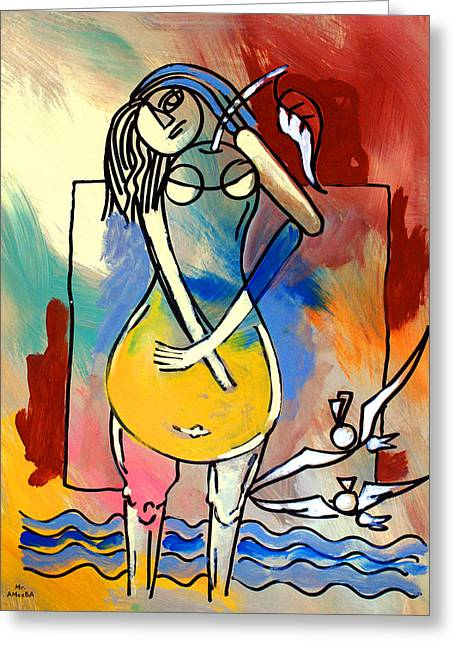 Ameeba- Pear Woman Greeting Card