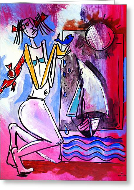 Ameeba- Woman And Sailboat Greeting Card