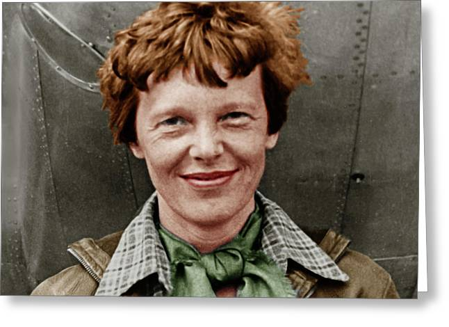 Amelia Earhart American Aviation Pioneer Colorized 20170525 Square Greeting Card by Wingsdomain Art and Photography