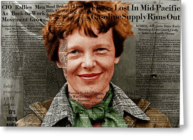 Amelia Earhart American Aviation Pioneer Colorized 20170525 Square With Newspaper Greeting Card by Wingsdomain Art and Photography