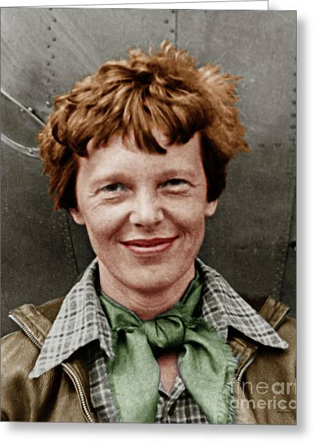 Amelia Earhart American Aviation Pioneer Colorized 20170525 Vertical Greeting Card by Wingsdomain Art and Photography