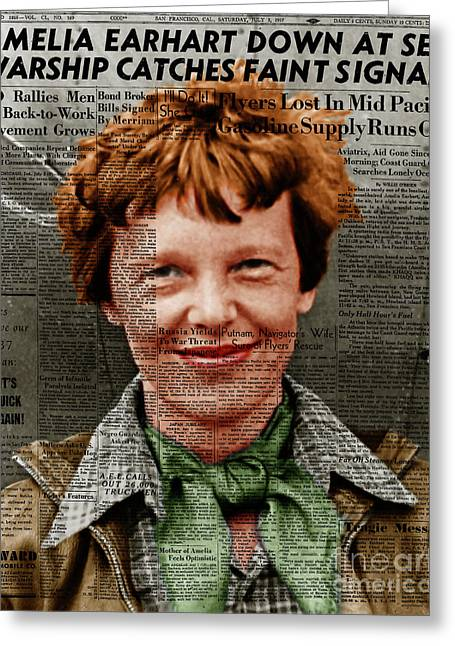 Amelia Earhart American Aviation Pioneer Colorized 20170525 Vertical With Newspaper Greeting Card by Wingsdomain Art and Photography