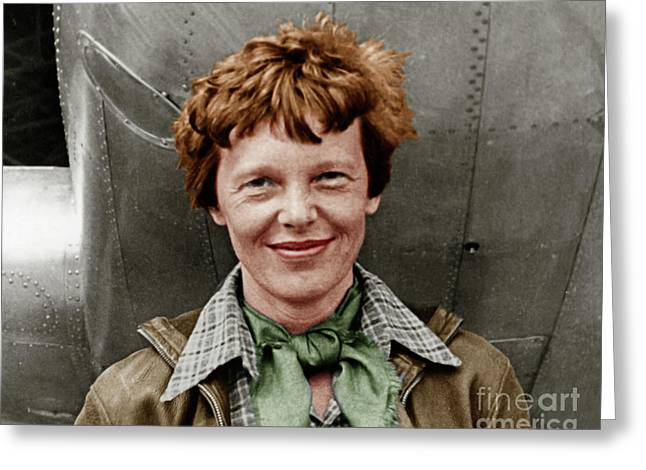 Amelia Earhart American Aviation Pioneer Colorized 20170525 Greeting Card by Wingsdomain Art and Photography