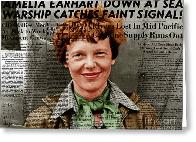 Amelia Earhart American Aviation Pioneer Colorized 20170525 With Newspaper Greeting Card by Wingsdomain Art and Photography