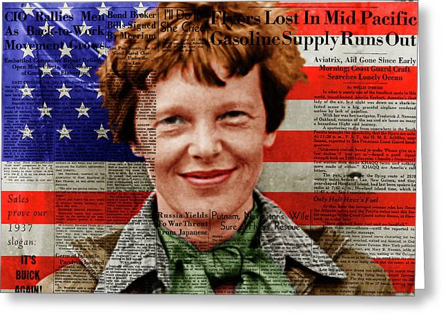 Amelia Earhart American Aviation Pioneer Colorized 20170525a Square With Newspaper And American Flag Greeting Card by Wingsdomain Art and Photography