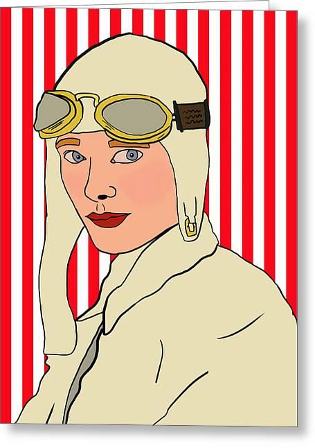 Amelia Earhart Greeting Card by Nicole Wilson
