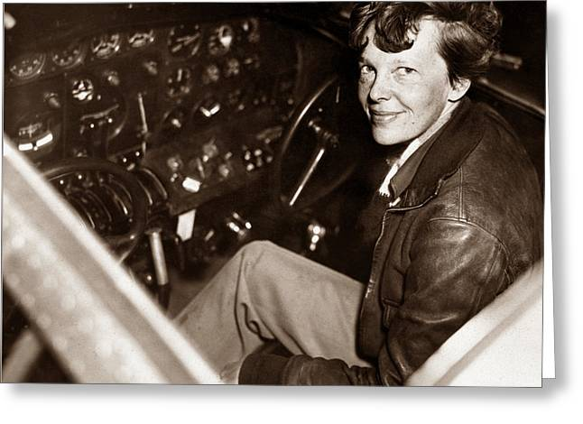 Amelia Earhart Sitting In Airplane Cockpit Greeting Card by War Is Hell Store