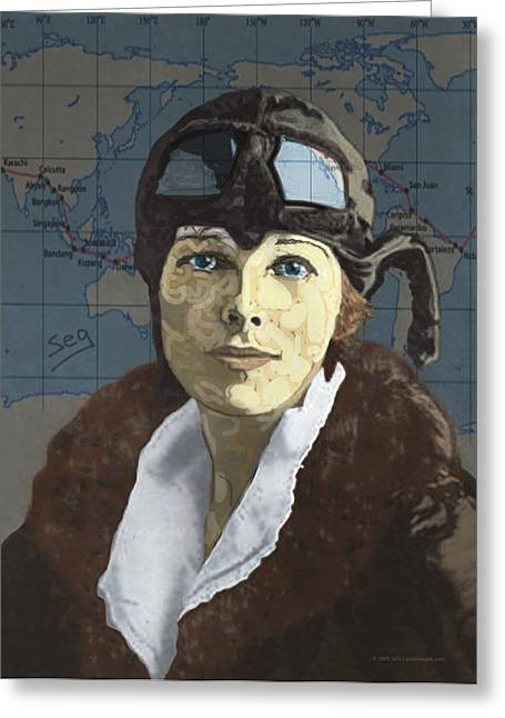 Pilot Greeting Cards - Amelia Earhart Greeting Card by Suzanne Gee