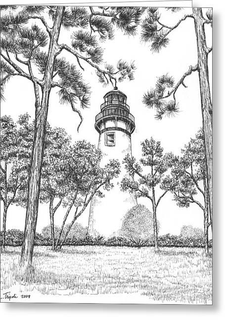 Amelia Island Lighthouse Greeting Card by Lawrence Tripoli