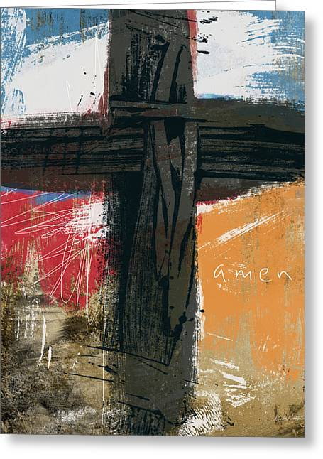 Amen Contemporary Cross- Art By Linda Woods Greeting Card