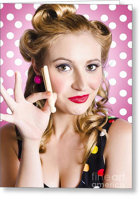 Amercian Pinup Girl With Laundry Peg Greeting Card
