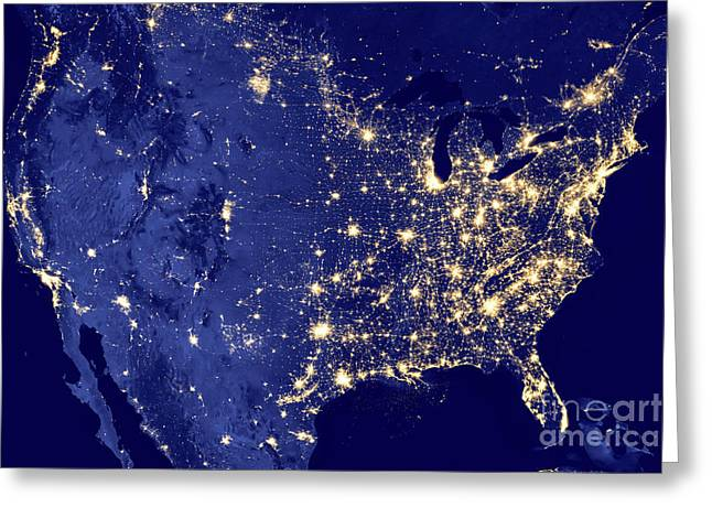 America By Night Greeting Card by Delphimages Photo Creations