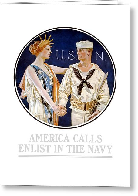 Second Lady Greeting Cards - America Calls Enlist In The Navy Greeting Card by War Is Hell Store