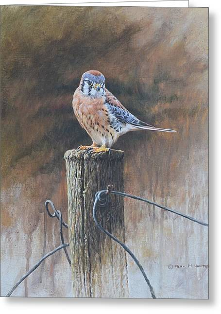 Greeting Card featuring the painting American Kestrel by Alan M Hunt