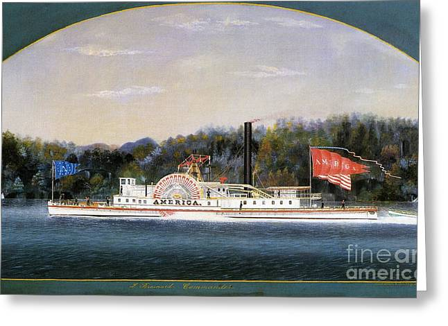 America Steamboat Greeting Card by Frederick Holiday