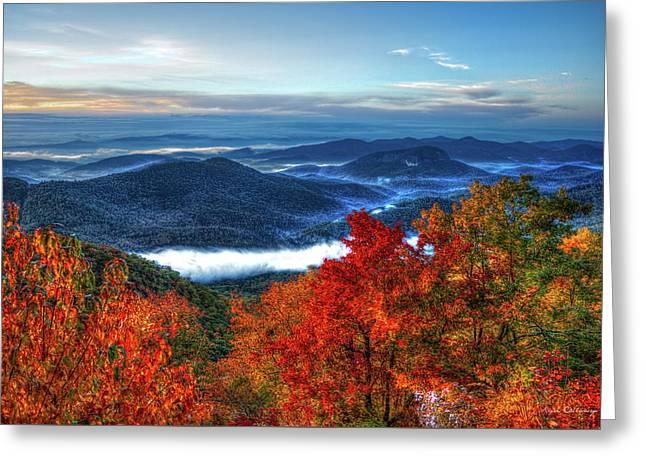 America The Beautiful Looking Glass Rock Blue Ridge Mountain Parkway Art Greeting Card by Reid Callaway