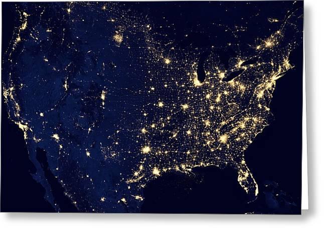 America United States At Night Greeting Card