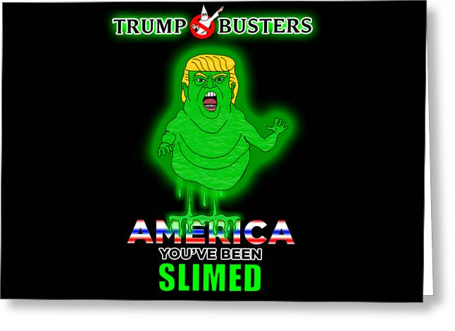 America, You've Been Slimed Greeting Card by Sean Corcoran