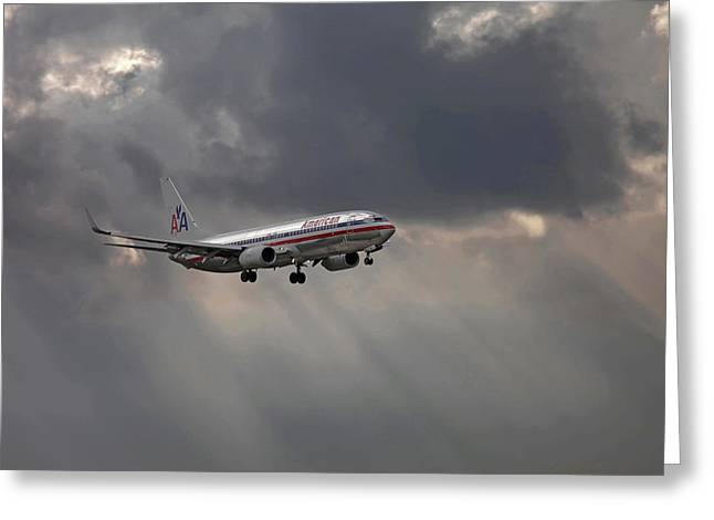 American Aircraft Landing After The Rain. Miami. Fl. Usa Greeting Card