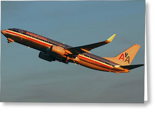 American Airlines 737 Greeting Card